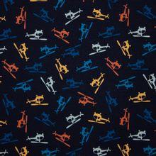 Blauwe Katoen Tricot met Helikoptertjes