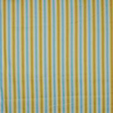 Gestreepte gesatineerde katoen in geel, camel, lichtblauw en wit van 'Hamburger Liebe'