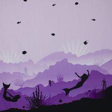Tricot paneel  met oceaan print in paars, lila, zwart en wit