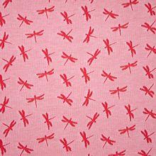 Rode Katoen Tricot met Libellen