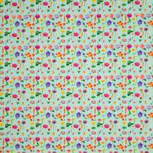 Munt tricot met veelkleurige bloemen