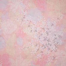 Roze Poplin Katoen met Bloemen en Bladeren van Michael Miller