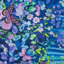 Blauwe Katoen met Vlinders en Bloemen