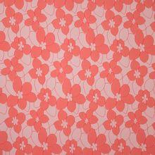 Licht huidskleurige polyester jacquard met zalmroze bloemen