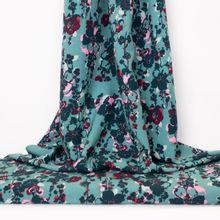 Turquoise Viscose met Bloemen