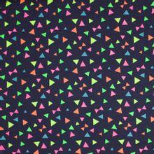 Donkerblauwe tricot met driehoeken en strikjes in neon
