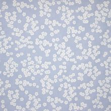 Blauw gestreepte Katoen met Witte Bloemetjes