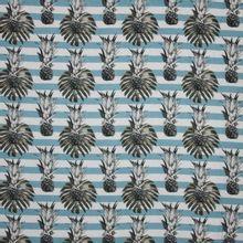 Wit / blauw gestreepte viscose met ananassen
