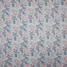 Muntkleurige polyester met fijn bloemen en bladeren motief