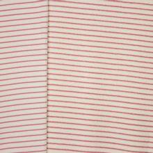 Ecru rekbare badstof double face met roze strepen