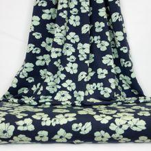 Donkerblauwe Tricot met Groene Bloemen van Poppy