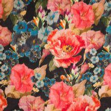 Viscose - wolmengeling met bloemen motief