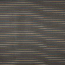 Donkerblauwe polyester / viscose / polyamide mengeling met oranje streepjes
