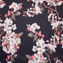 Zwarte Polyester met Bloemen en Bladeren