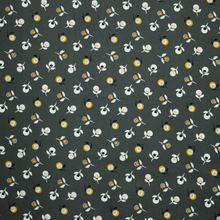 Donkere Kaki Katoen met Bloemenpatroon