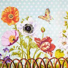Katoen met Bloemen en Vlinder