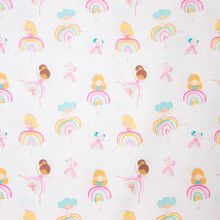 Witte Katoen met Meisjes in Regenboog Jurkjes