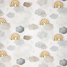 Witte Tricot met Wolkjes en Regenbogen