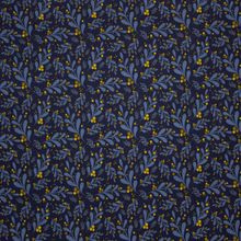 Donker Blauwe Tricot met Bloemen en Gouden Bessen