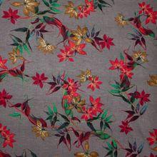Grijze Polyester Viscose Stretch met Sierlijke Bloemen