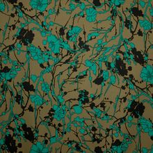 Kaki Polyester Stretch met Turquoise Patroon