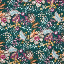 Groene viscose tricot met retro bloemen van 'Milliblu's'