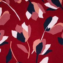 Bordeaux fijne ribfluweel met bloemen van 'Milliblu's'