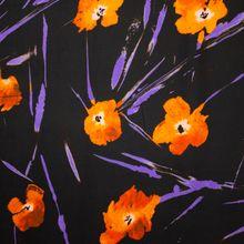 Zwarte Viscose met Bloemen