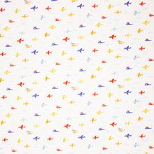 Witte Katoen met Vliegtuigen van Poppy