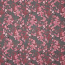 Grijze tricot met bloemen in roze