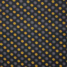 Zwarte viscose tricot met bloemen in grijs en oker