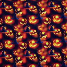 Oranje/zwarte Tricot met Halloween Pompoenen en Heksenhoeden