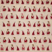 Licht nude katoen met kerstmannen en kerstbomen