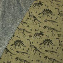Groene gemeleerde sweaterstof met dino skeletten, achterkant grijs pelsje