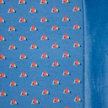 "Blauwe sweaterstof met driehoekjes van ""Hamburger Liebe"""