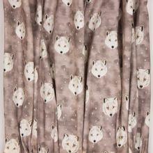 """Gevlekte grijze tricot met wolvenkopjes van """"Family Fabrics"""""""