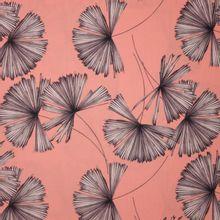 Zalmroze  polyester met plantmotief