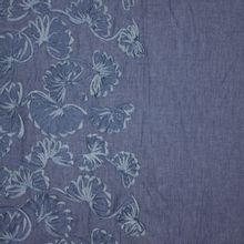 Blauwe jeanslook katoen, versierd met bloemen van Stitched By You
