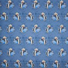 Blauwe french terry met dino's en gemarmerde achtergrond