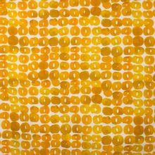Italiaanse witte piqué katoen met gele motieven van 'Alta Moda'