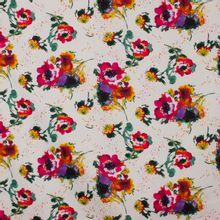 Italiaanse witte piqué katoen met multicolor bloemen van 'Alta Moda'