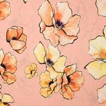 Zalmroze viscose met bloemen van Fibre Mood