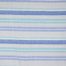 Licht grijze katoen/linnen stof met blauwe strepen van Little Darling