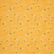 Gele/oranje katoen met bijenkorf motief en bijtjes