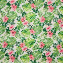Witte gesatineerde polyester met tropische bladeren