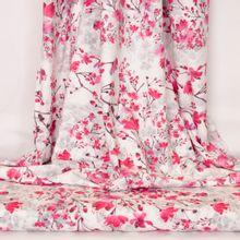 Witte katoentricot met roze bloemen