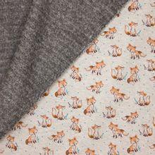 Gemeleerde grijze sweaterstof met vossen