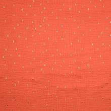 Rode katoen double gauze met glinsterende gouden streepjes
