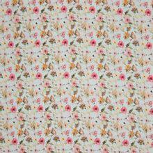 Blauwe viscose met roze bloemenprint
