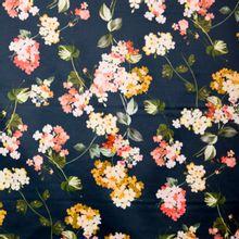 Blauwe gesatineerde polyester katoen elasthane met bloemen